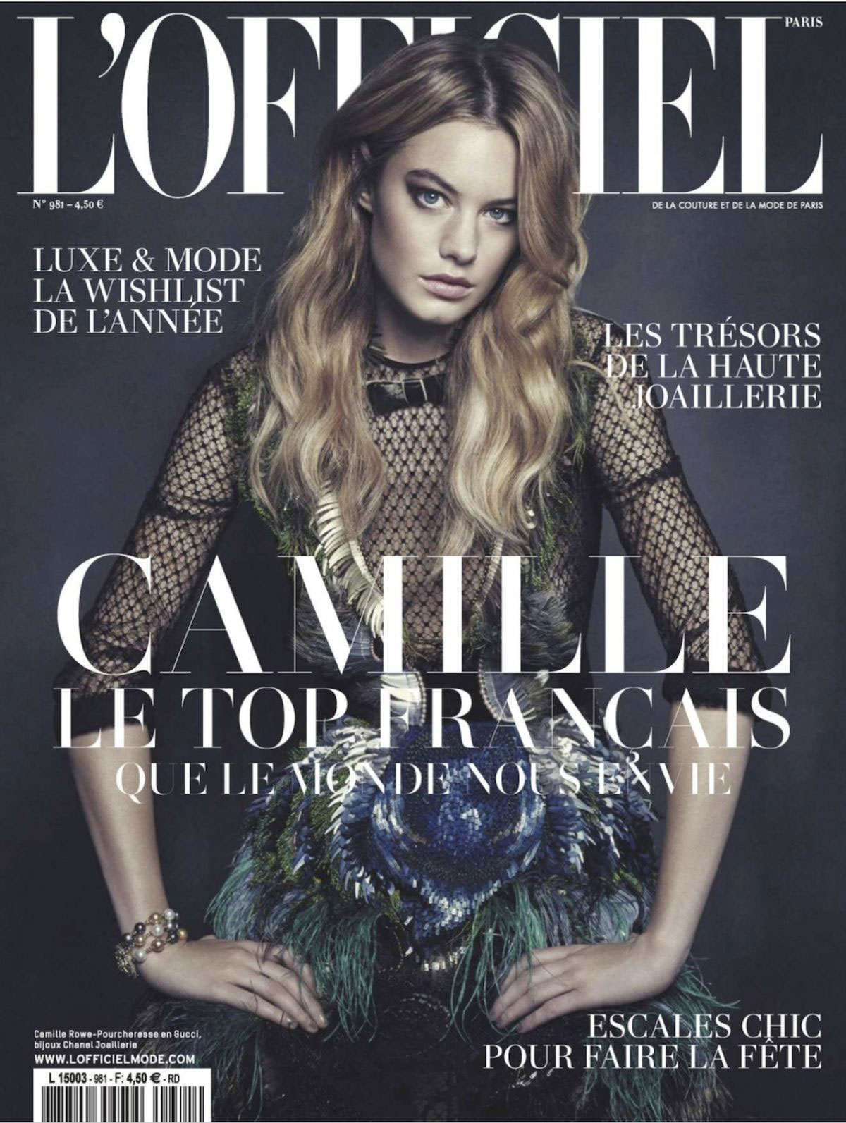 CAMILLE ROWE in L'Officiel Paris Magazine, January 2014 Issue